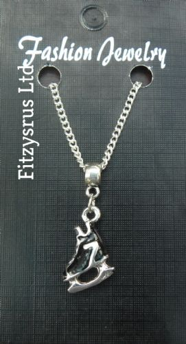 "18"" 24"" Inch Chain Necklace & Small Black Ice Skate Pendant - Skating Skaters"
